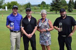 Winner Ryan Condon (Hinton GC) with Team Winners Kyle Crawford (Broadmoor GC) and Dianna Houtstra with Host Professional Bill Newbigging (Photo: PGA of Alberta)