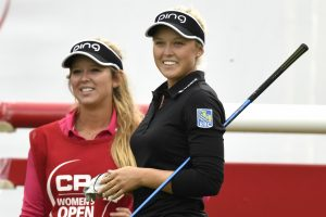 Brooke and Brittany Henderson share a light moment on the 1st tee of the CP Women's Open (Photo: Golf Canada)