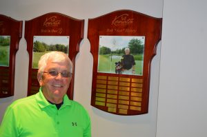 Bob Henry with his own hole in one plaque at Kanata G&CC (Photo: Joe McLean)